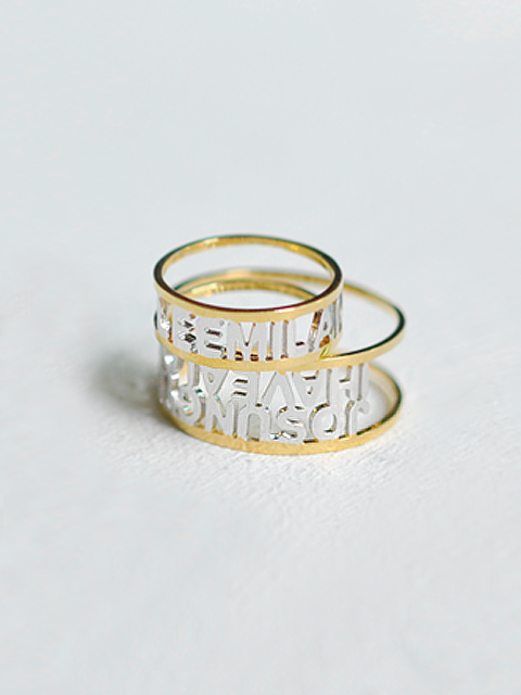 14K Gold/Lettering open work ring-CPR0081